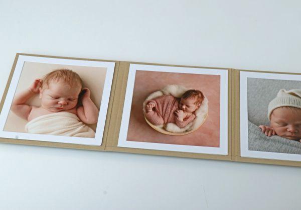 3er Folio, Triple Folio, Bilder 18x18, Leinen Farbe Sand